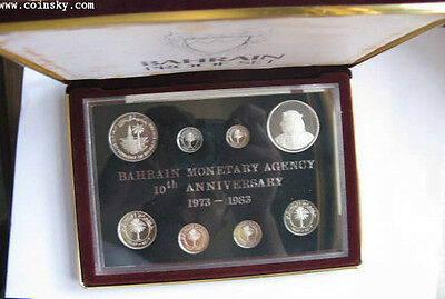BAHRAIN 8 Coins 1983 Sterling Silver Proof Set KM PS3
