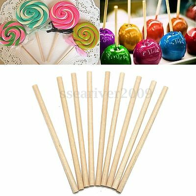 100Pcs 80mm Round Wooden Lollipop Lolly Sticks Cake Dowels For DIY Food Crafts