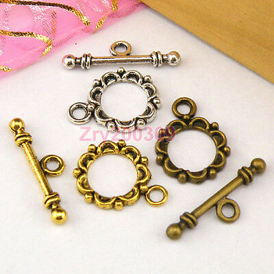 15Sets Tibetan Silver,Antiqued Gold,Bronze Flower Connector Toggle Clasps M1391
