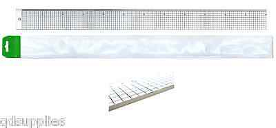 CLEAR ACRYLIC 60cm TRANSPARENT CUTTING RULER WITH STEEL EDGE STRIP CRAFT RULE
