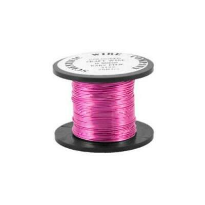 1 x Bright Pink Plated Copper 0.5mm x 15m Round Craft Wire Coil W5122