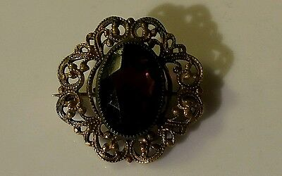 Antique Gold Filled Faceted Oval Stone Brooch