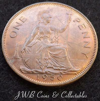 1950 George VI One Penny Coin - Scarce Date - Great Britain 1d