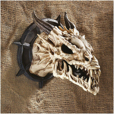 Mythical folklore Dragon Fossilized Skull Wall Trophy Horned Sculpture