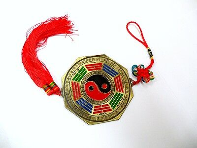 """4.8""""D 15""""L Chinese Oriental Protection Feng Shui Home Bagua Ba Gua Mirror Charm"""