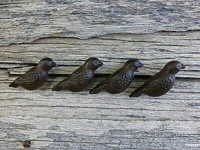 GROUP 4 CAST IRON RESTING BIRD CABINET PULLS DOOR DRAWER DRESSER KNOBS rustic