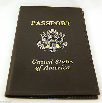 New Genuine Leather USA Passport Cover Holder Black Travel Wallet US Seal GOLD