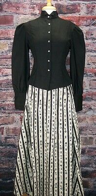 FRONTIER CLASSICS Victorian Black Key Stripe Bustled skirt  Dickens Steampunk