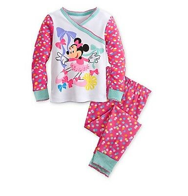 Disney Store Authentic Minnie Mouse Clubhouse Pajamas Girls Size 2 3 4 PJ's NEW