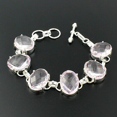 Wholesale 75% Off Jewelry Pink Gemstone Kunzite Sterling Silver Bracelet 9""