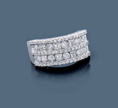 Anneau Diamant Brillant Princesse 14 Carat 585er Or Blanc 2,07 Top Wesselton