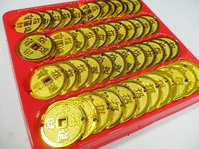 48x LOT Feng Shui Chinese Asian Gold Golden Money I Chin Coin Lucky Charm Set #B