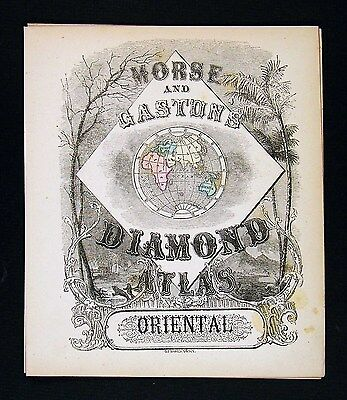 1857 Morse Diamond Atlas  Frontispiece Title Page Europe Asia Africa World Map