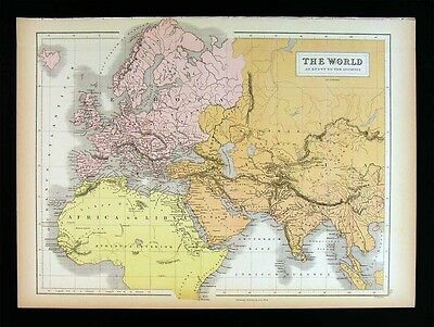1879 Black Atlas Map Ancient World Europe Asia Africa Roman