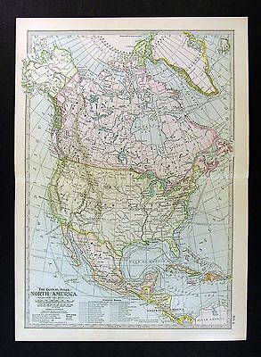 1902 Century Atlas Map - North America - United States Canada Mexico Caribbean