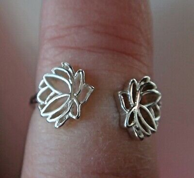 size 7-8 Adjustable Sterling Silver Two Lotus Flowers Ring symbol Rebirth Purity