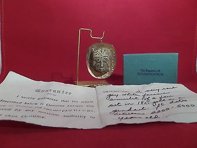 Antique Egyptian Faience Mask Amulet Pendant 18K Gold With Certificate • CAD $1,631.70