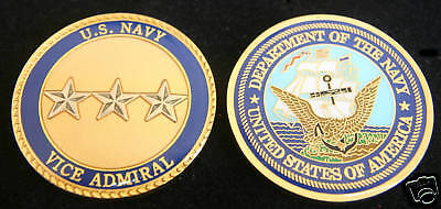 US NAVY VICE ADMIRAL Insignia 0-9 CHALLENGE COIN USS USN PIN JAG PROMOTION  GIFT