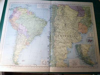 Map From Philip's Atlas 1945 - South America - General & The South....153-54/45