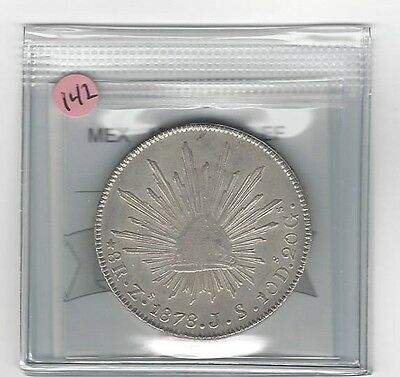 **1878 ZsJS**Mexico, Silver 8 Reales, Coin Mart Graded **EF**KM #377.13 (#142)