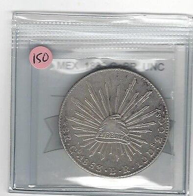 **1883 GoBR**Mexico, Silver 8 Reales, Coin Mart Graded **UNC**KM #377.8 (#150)