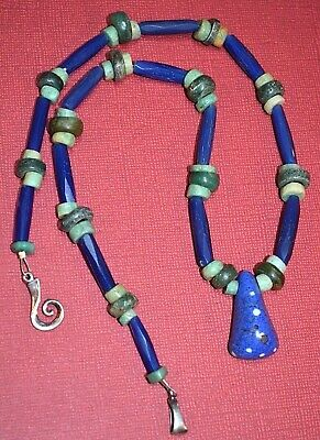 Antique Mauritanian Kiffa Bead Necklace Ancient Amazonite Serpentine Stone Beads