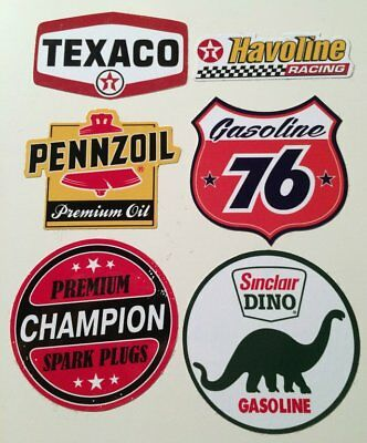 6er US Oldschool Cars Set Sticker / Aufkleber Texaco 76 Pennzoil Rod Rockabilly