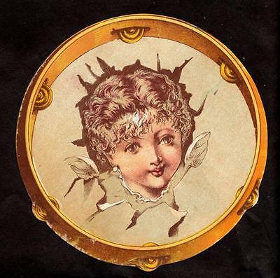 c.1890 childs face in tambourine victorian greeting card