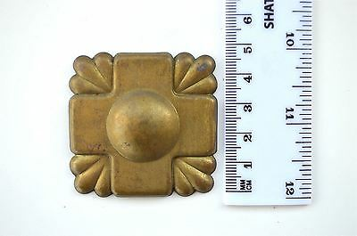 Original antique pressed brass furniture mount mirror cartouche emblem B1