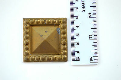 Original antique pressed brass furniture mount mirror cartouche emblem B7
