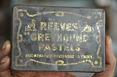Vintage Reeves Greyhound Pastels Ad Litho Tin Box , London