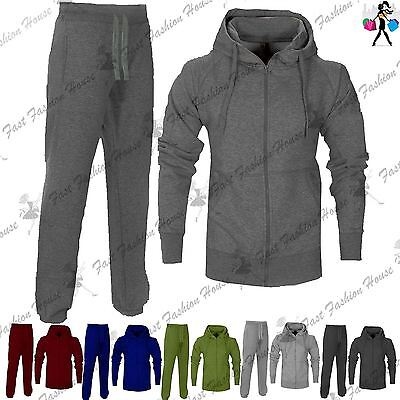 Mens Essential Exercise Plain Hooded Gym Suit Fleece Jogging Bottoms Tracksuit