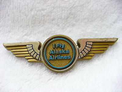 74A- Vintage I Fly Alaska Airlines Pin Back Wings #5033