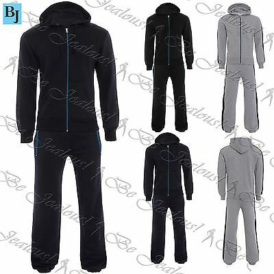 Mens Gym Essentials Zipup Side Stripe Panel Hoodies Work Out Jog Suit Tracksuits