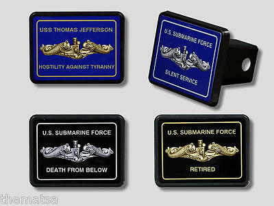 Submarine Silent Service Navy Personalized Dolphin Trailer Hitch Cover Usa Made