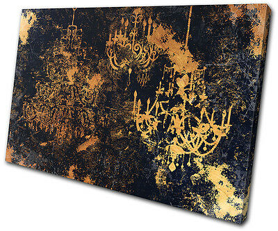 Grunge Vintage Retro Chandelier Abstract SINGLE CANVAS WALL ART Picture Print