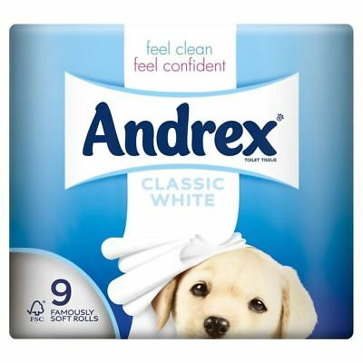 Andrex Classic White Toilet Tissue Rolls - 240 Sheets per Roll (9 per pack)