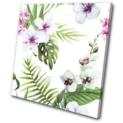 Tropical Flowers Nature Leaves Floral SINGLE CANVAS WALL ART Picture Print