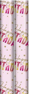 6m Roll Happy Birthday Gift Wrapping Paper 2x3m Blue with Balloons Bunting Cake
