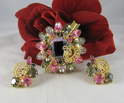 Vintage Reproduction Pink Lavender Rhinestone Pin & Earrings Set CAT RESCUE