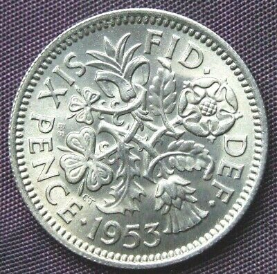 """1953 """"Lucky"""" Sixpence - Stunning UNCIRCULATED Coin, FREE POSTAGE (D435)"""