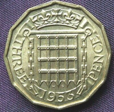 1953 Brass Threepence - Stunning UNCIRCULATED Coin, FREE POSTAGE (D437)