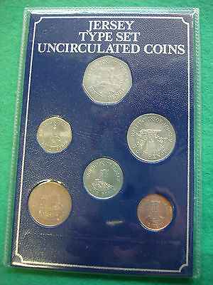 jersey 1983 - 1994 uncirculated coin type set freepost uk