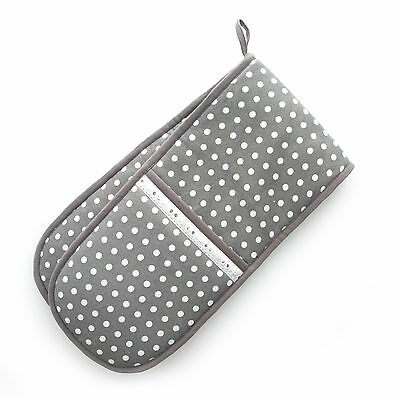 Dexam Vintage Grey Spot Dot  Double Oven Glove Mitt Textile Cotton Insulated New