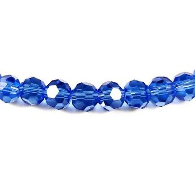 Strand Of 70+ Blue Czech Crystal Glass 6mm Faceted Round Beads GC3555-2