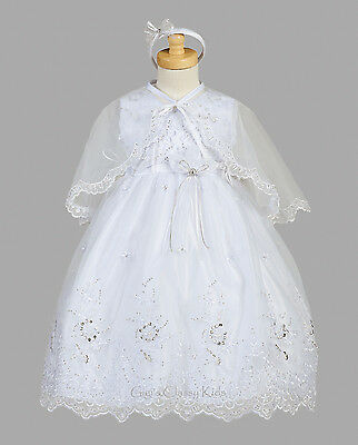 New Baby Girls White Organza 3 Pc Dress Gown Christening Baptism Bonnet 2150