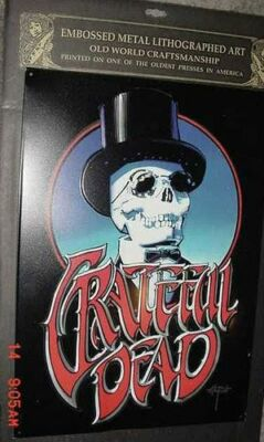 TOPHAT SKULL LITHOGRAPH GRATEFUL DEAD SIGN ART metal POSTER RICK GRIFFIN '96 GDP
