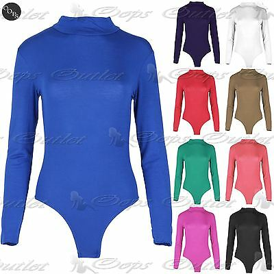 Womens Polo Turtle Neck Leotard Ladies Long Sleeve Stretchy T-Shirt Bodysuit Top