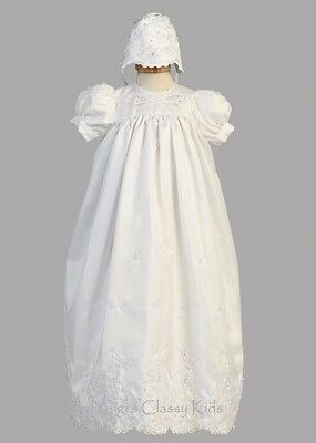 New Baby Girls Shantung 2 Pc Long Dress Gown Christening Baptism Bonnet 2270