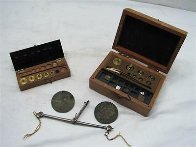 Antique Apothecary Gold Scale w/Box Set Balance Weights Brass Pharmacy Grams